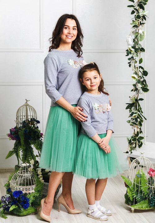 """Комплект фатиновых юбочек для мамы и дочки """"Зефирки"""" М-2024"""