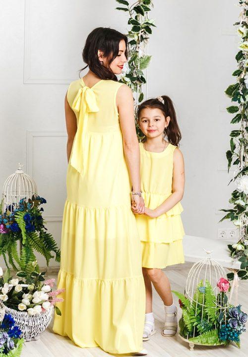 """Комплект платьев для мамы и дочки """"Американка"""" М-2027"""