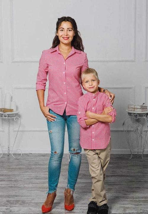 """Комплект рубашек Family Look для мамы, папы и сына """"Клеточка"""" М-2046"""