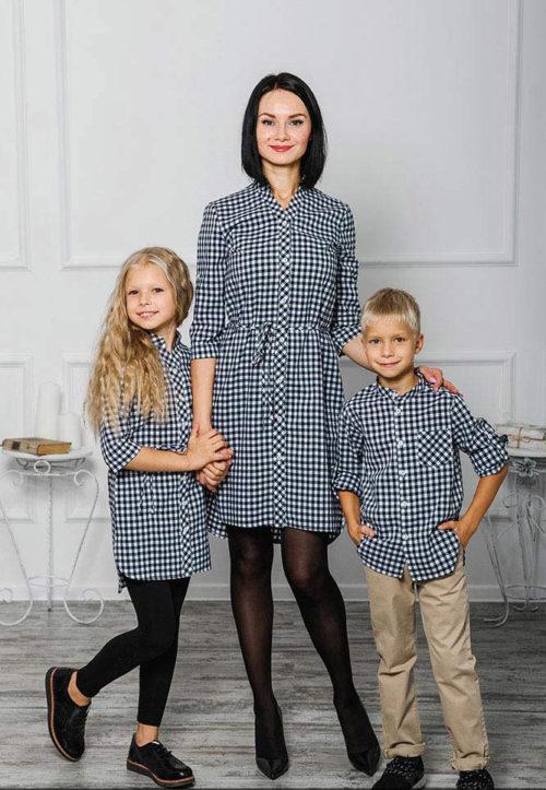 Комплект в стиле family look «Клеточка» М-2039