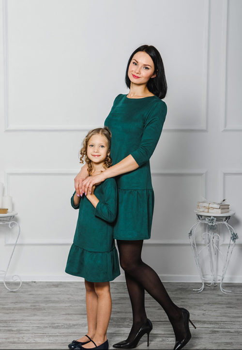 Комплект платьев мама+дочка «Замша» М-2038