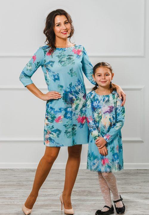 Комплект платье мама+дочка «3D» М-2005