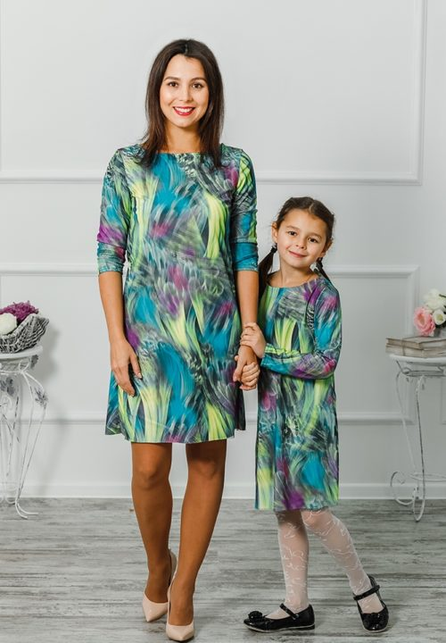 """Комплект платье мама+дочка """"3D"""" М-2005"""