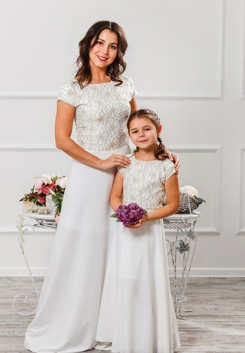 Комплект платьев для мамы и дочки «Эльза» М-2010