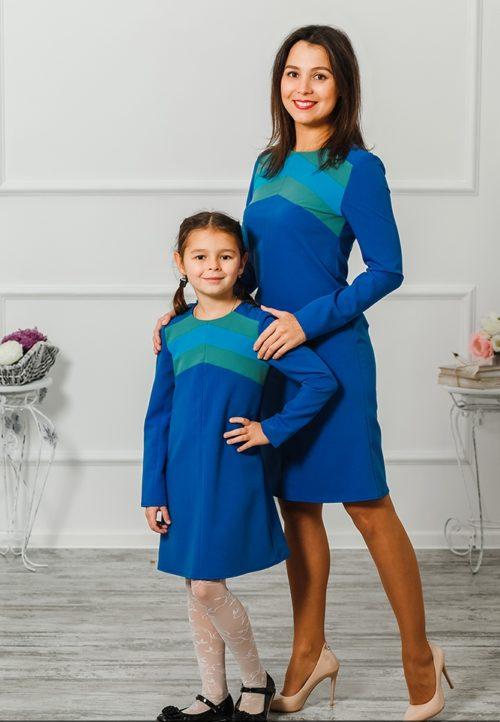 """Комплект платьев для мамы и дочки """"Радуга"""" М-2004"""