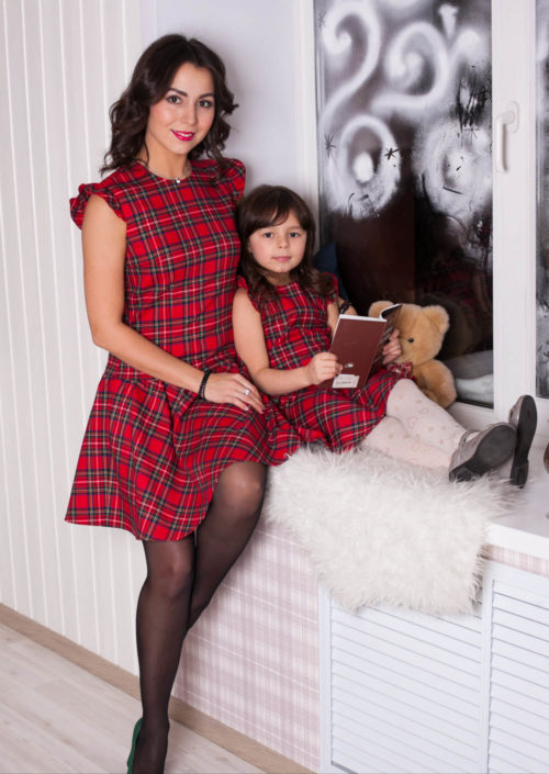 """Комплект Family Look для всей семьи """"Шотландка"""" М-250"""