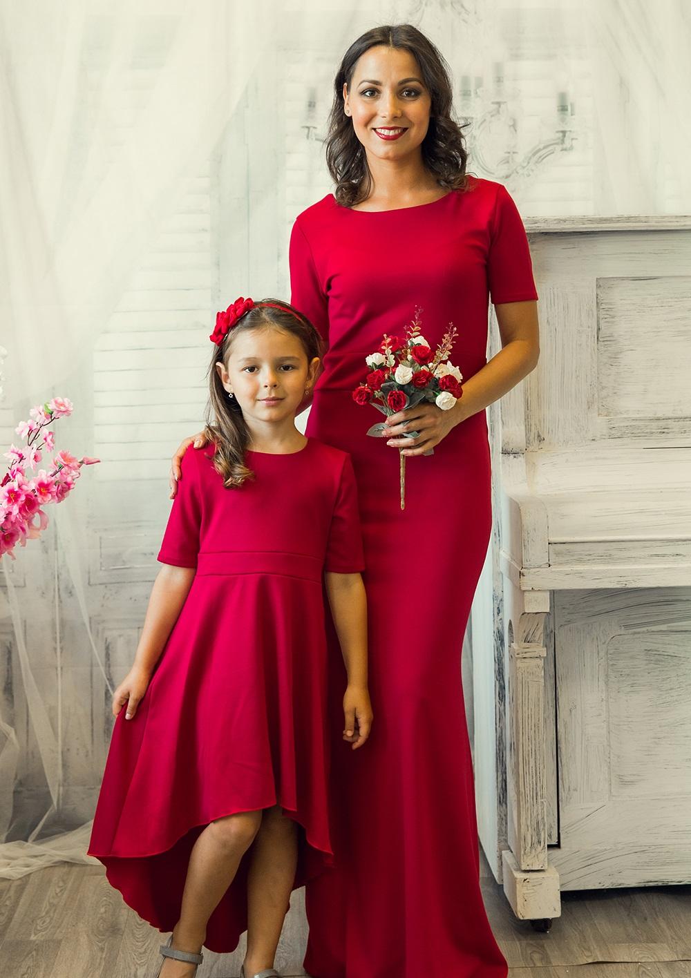 """Комплект платьев Family Look для мамы и дочки """"Русалочка"""" М-232"""