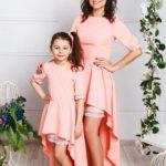 Комплект платьев со съемными юбками для мамы и дочки М-272