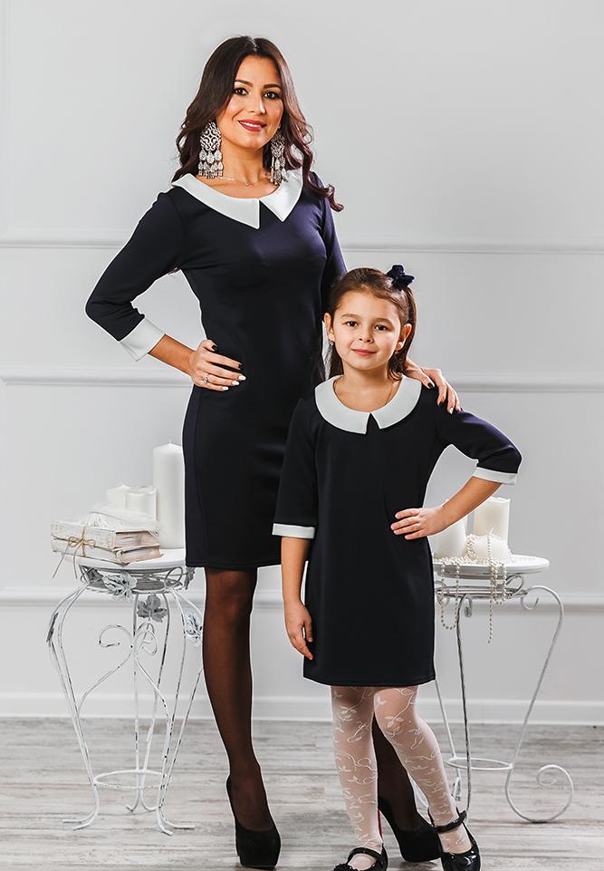 """Комплект платьев Family Look для мамы и дочки """"Воротничок"""" М-203"""