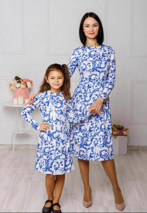 """Комплект платьев в стиле family look """"Гжель"""" М-2044"""