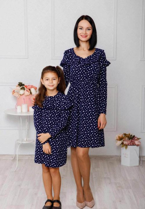 """Комплект платьев для мамы и дочки """"Ретро"""" М-2042"""