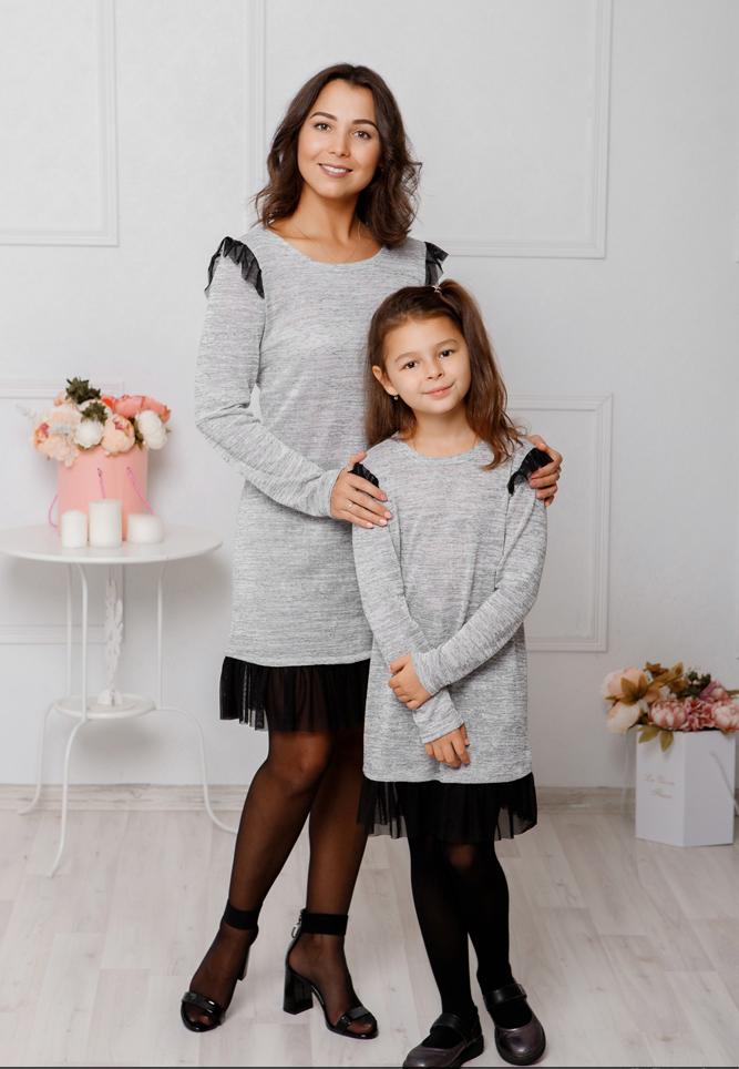 """Комплект платьев Family Look для мамы и дочки """"Grey"""" М-2047"""