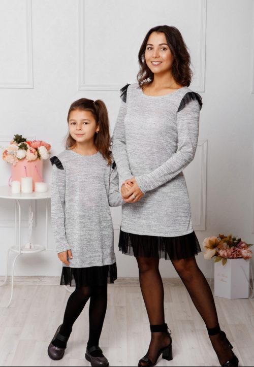 Комплект платьев Family Look для мамы и дочки «Grey» М-2047