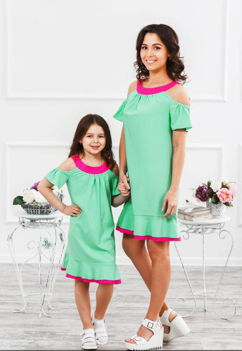 """Комплект платьев для мамы и дочки """"Сара"""" М-285"""