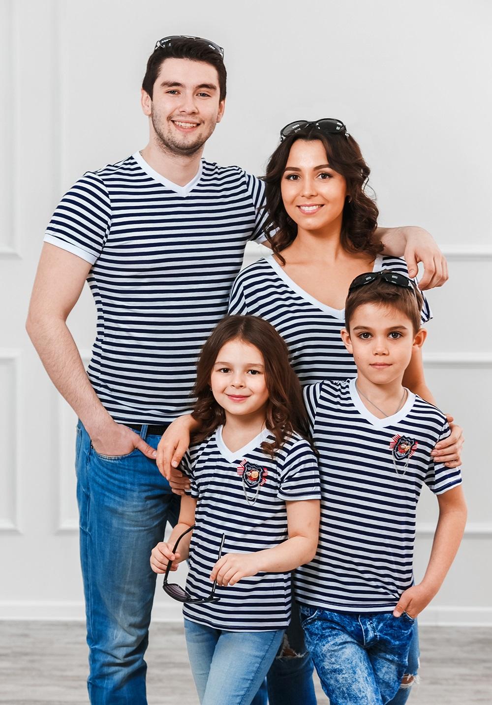 """Комплект футболок в стиле family Look для всей семьи """"Матроски"""" М-287"""