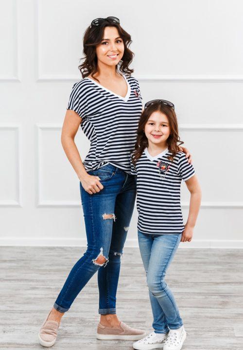 Комплект футболок в стиле family Look для всей семьи «Матроски» М-287
