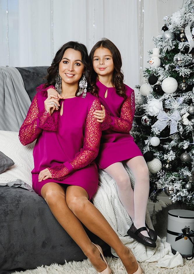 """Комплект платьев Family Look для мамы и дочки """"Паутинка"""" М-2051"""
