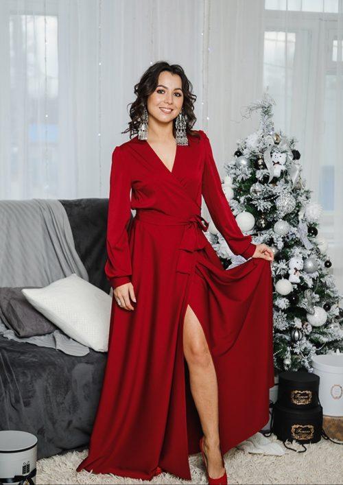 Платье на запах «Макси» М-1058