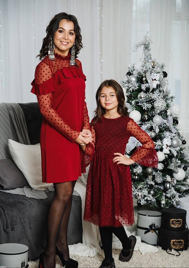 """Комплект платьев Family Look для мамы и дочки """"Глюкоза"""" М-2056"""