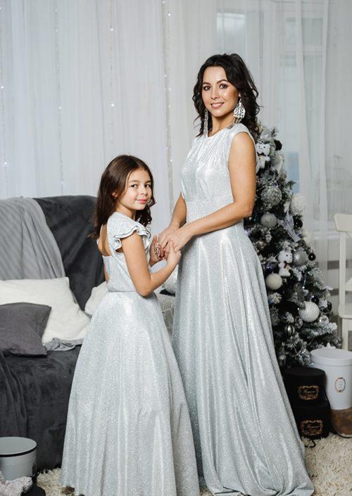 Комплект платьев Family Look для мамы и дочки «Золушка» М-2055