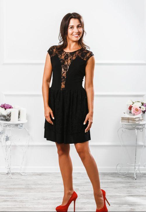 Черное коктейльное платье «Флирт» М-062