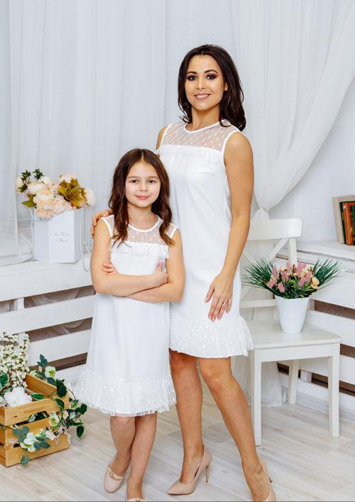 Комплект платьев Family Look для мамы и дочки «Суфле» М-2060