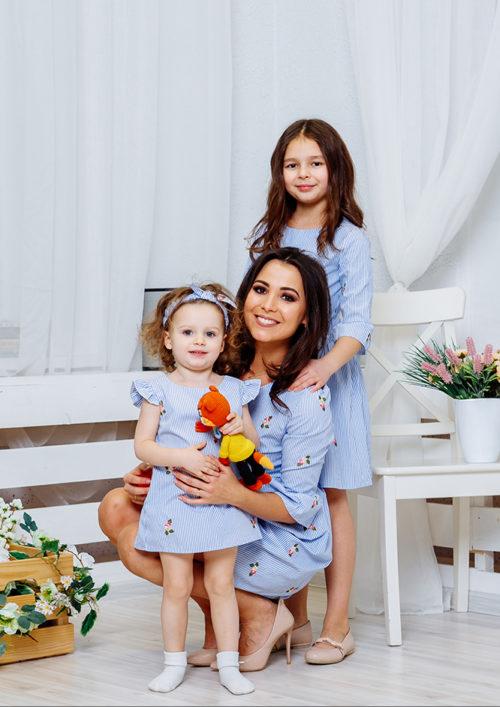 """Комплект платьев Family Look для мамы и дочки """"Лагуна"""" М-2062"""