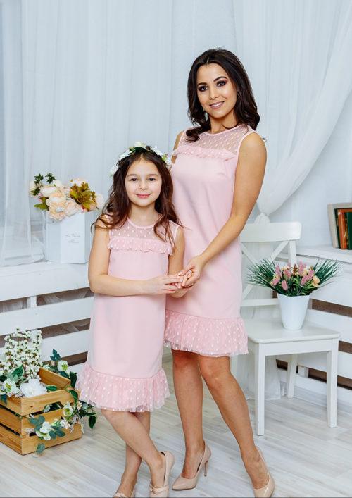 """Комплект платьев Family Look для мамы и дочки """"Суфле"""" М-2060"""