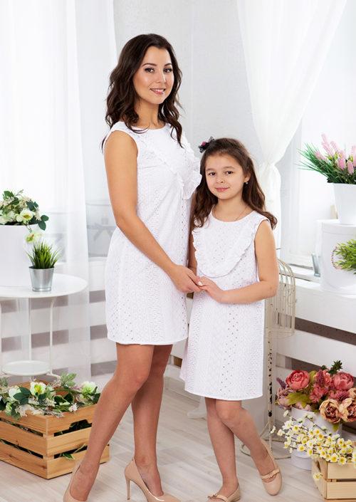 """Комплект летних платьев в стиле Family Look для мамы и дочки """"Романтика"""" М-2068"""