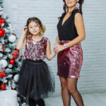 """Комплект в стиле Family Look платье для мамы и топ для дочки """"Бурлеск"""" М-2113"""