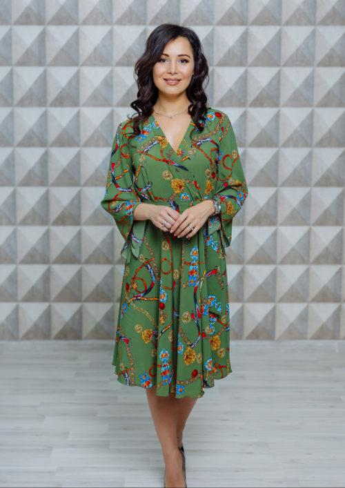 """Платье с расклешенными рукавами """"Кимоно"""" М-1123"""