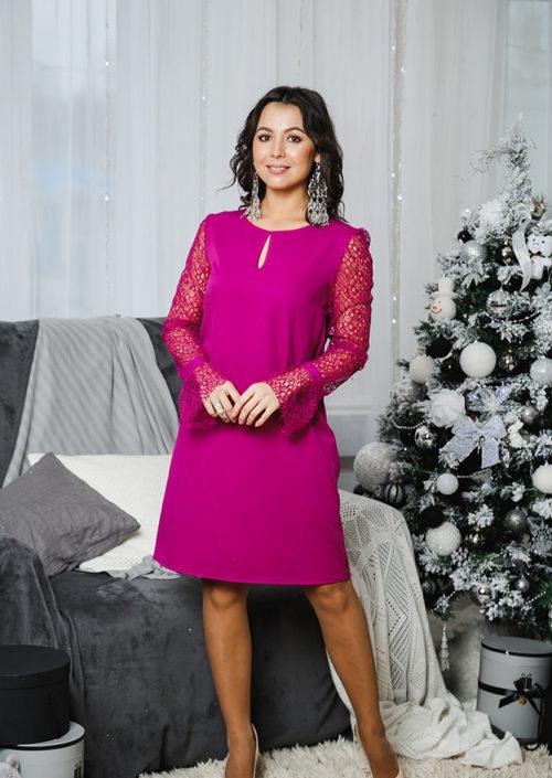 """Коктейльное платье с кружевными рукавами """"Паутинка"""" М-1051"""