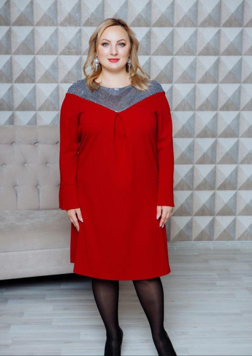 """Нарядное платье с пайетками """"Ариэль"""" PLUS М-1110"""