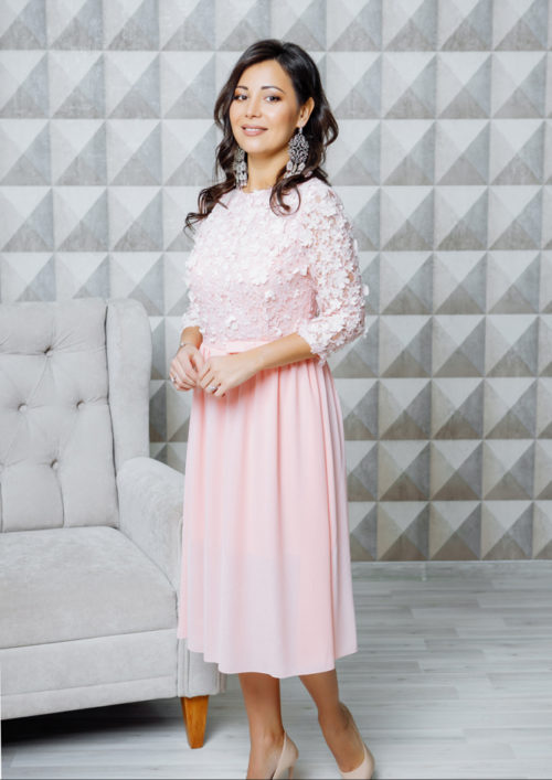 "Нарядное платье-миди ""Флёр"" М-1108"