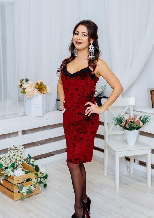 """Бархатное платье на бретельках """"Лолита"""" М-1073"""