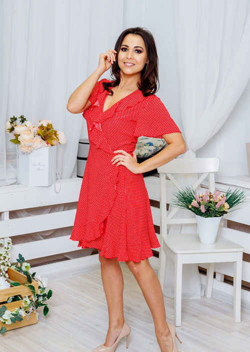 "Платье с воланами ""Кармен"" М-1064"