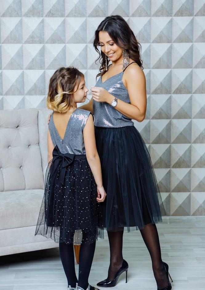 """Комплект в стиле Family Look топ для мамы и платье для дочки """"Шик"""" М-2107"""