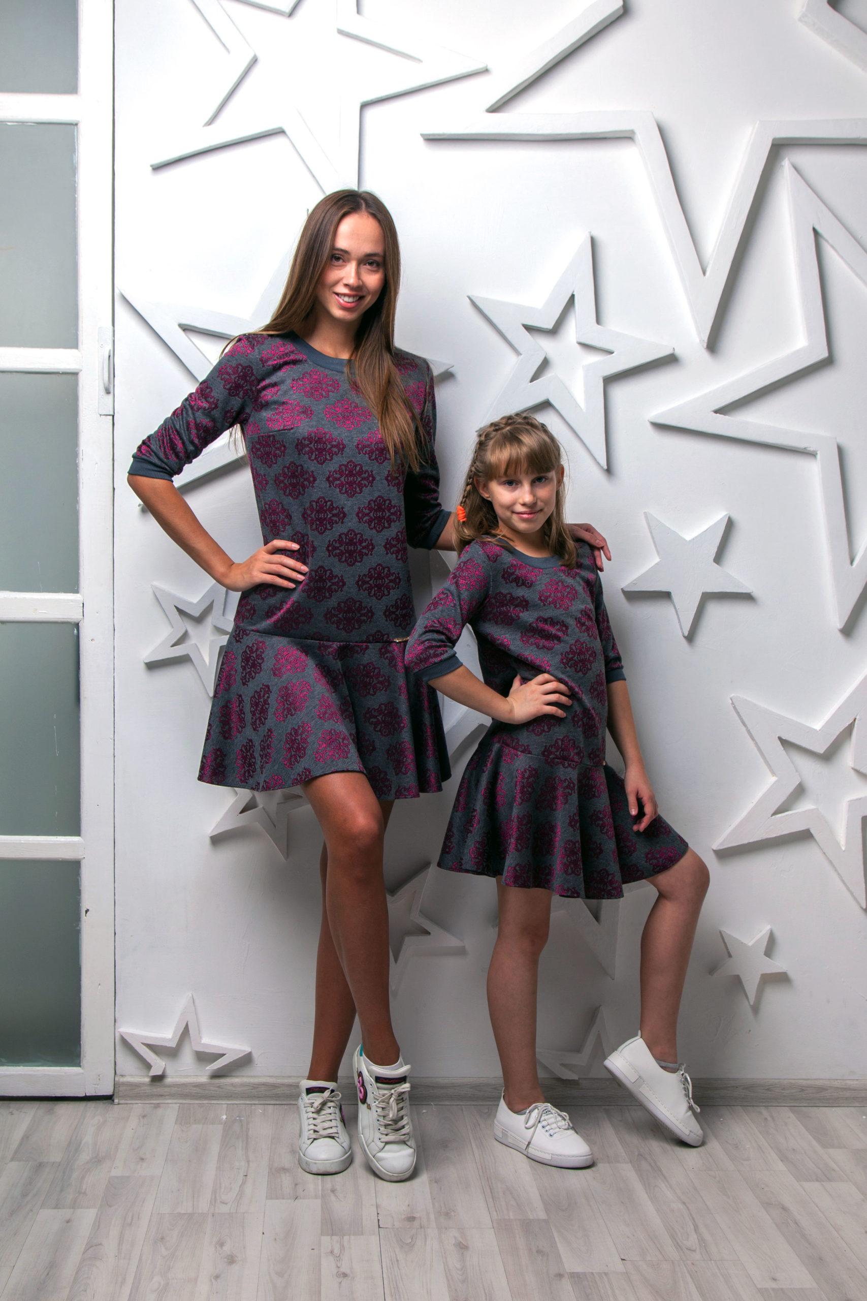 Комплект одинаковых платьев Family Look КМ 2223