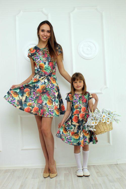 Комплект платьев для мамы и дочки в стиле Family Look КМ 2281