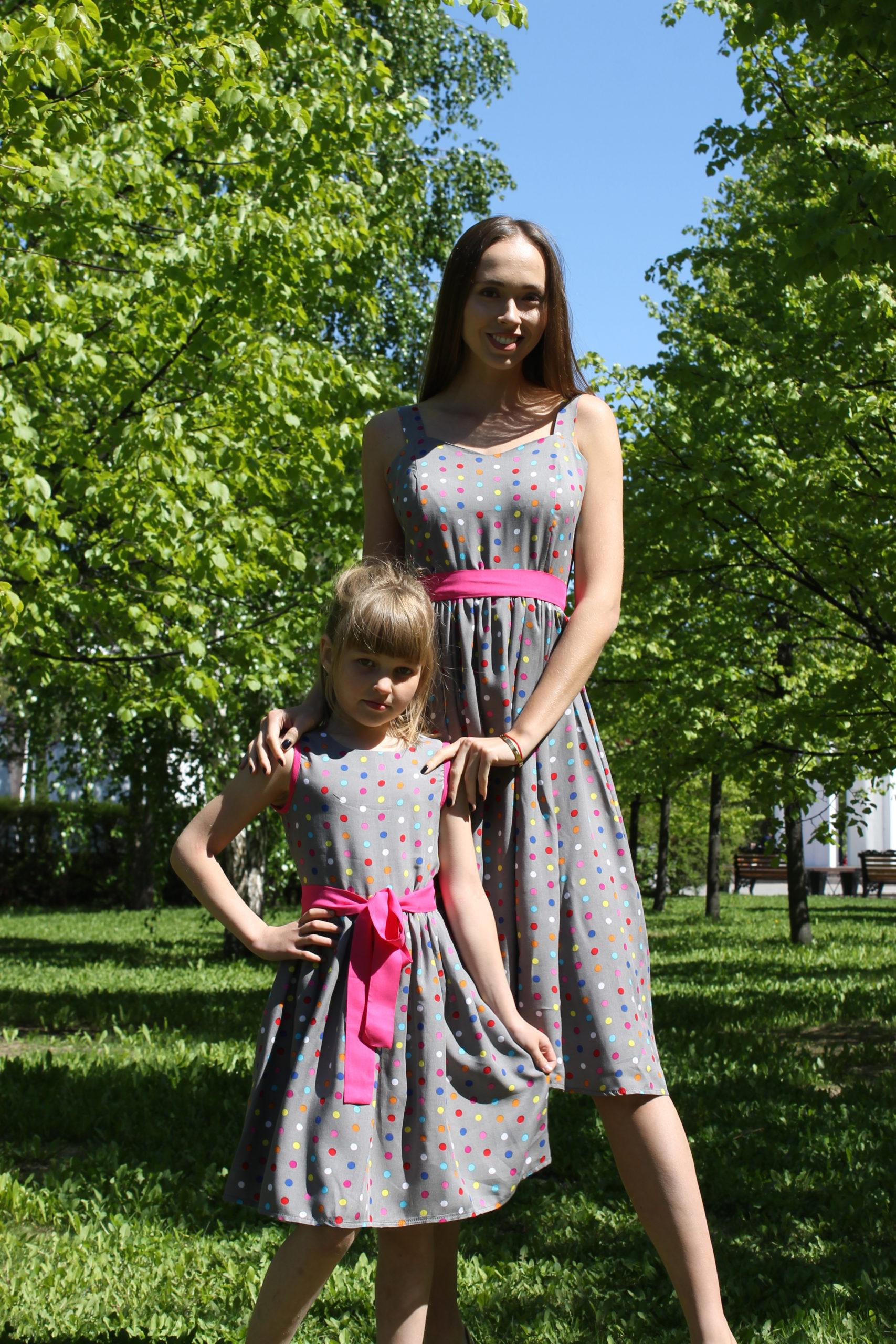Комплект сарафанов для мамы и дочки в стиле Family Look КМ 2238