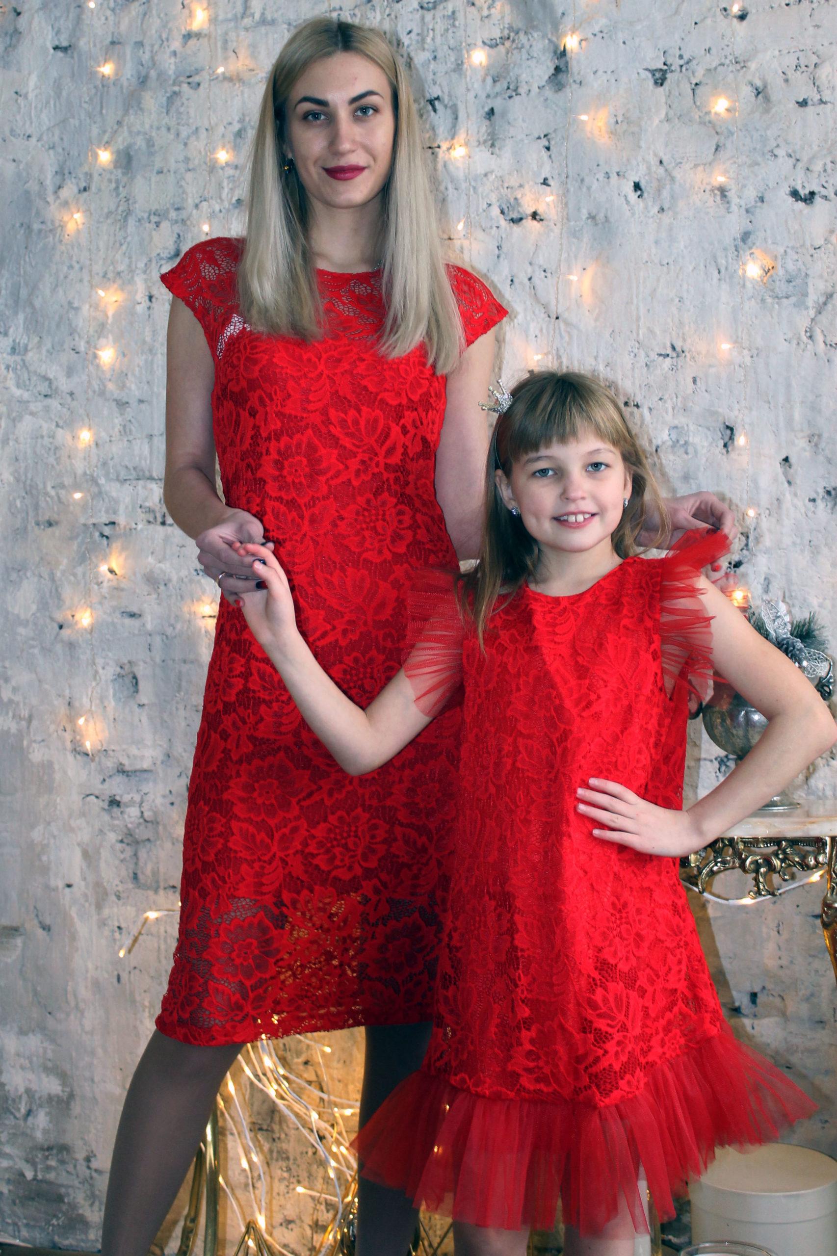 Комплект нарядных платьев для мамы и дочки КМ 2213