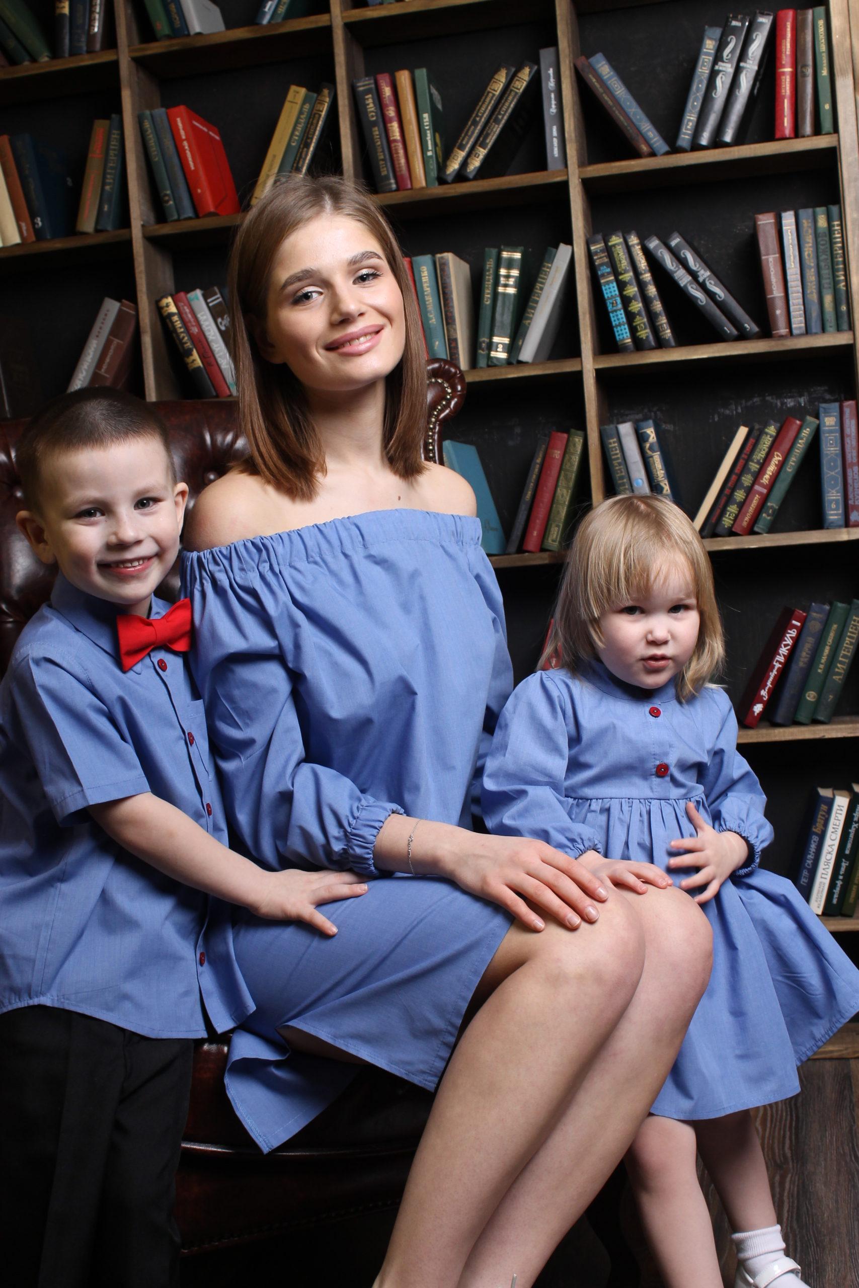 Комплект в стиле Family Look для мамы, дочки и сына КМ 2205