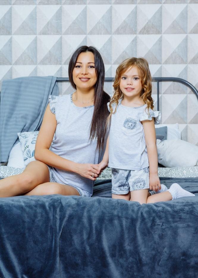 """Комплект пижам для мамы и дочки в стиле family look """"Милашка"""" М-2124"""