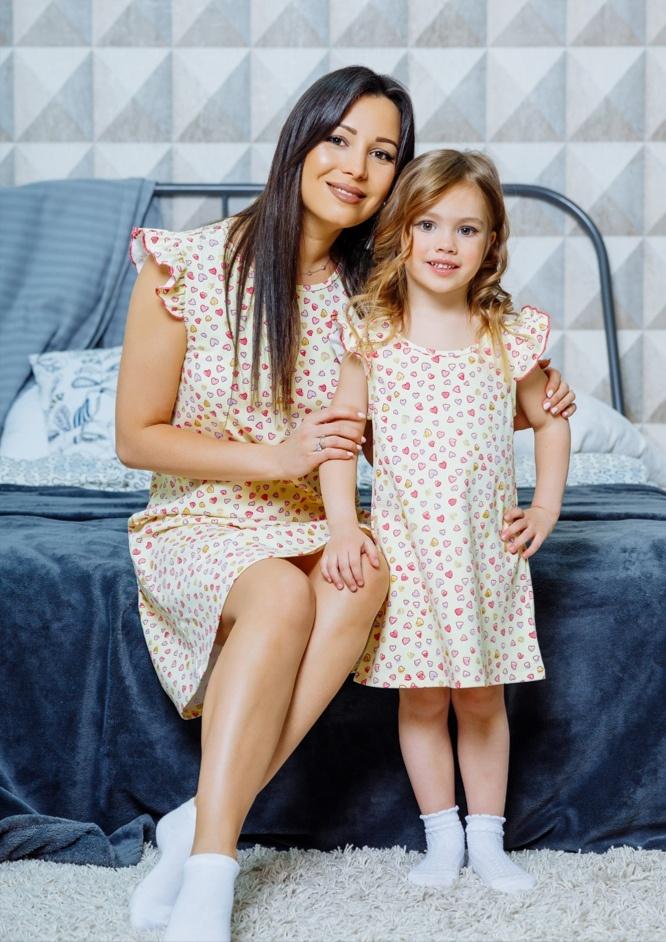 """Комплект домашних платьев в стиле family Look для мамы и дочки """"Монпансье"""" М-2125"""