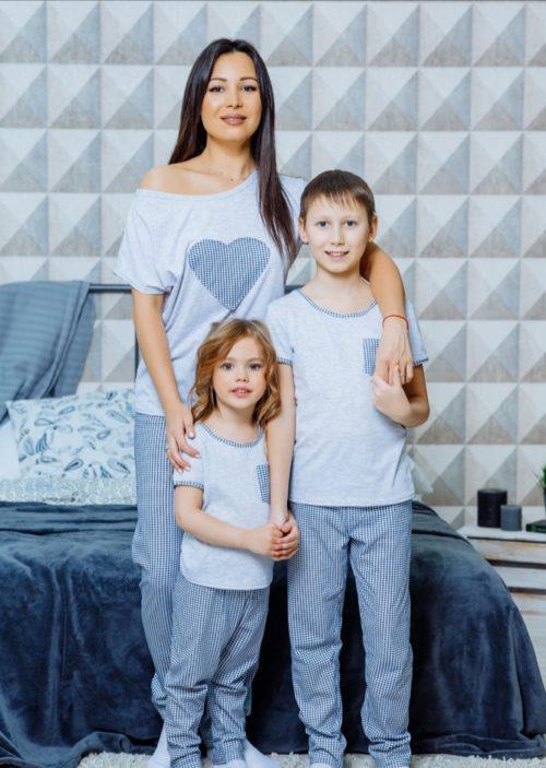 """Домашний комплект в стиле family Look с брючками """"Сиеста"""" М-2126"""