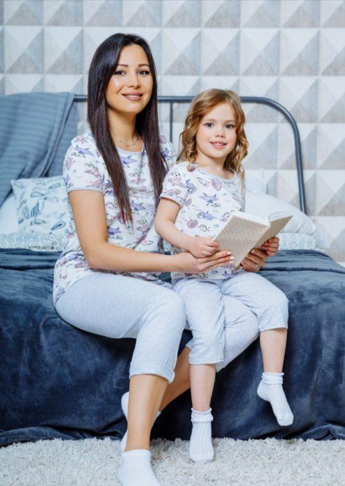 """Домашний комплект в стиле family Look для мамы и дочки """"Мышки"""" М-2127"""