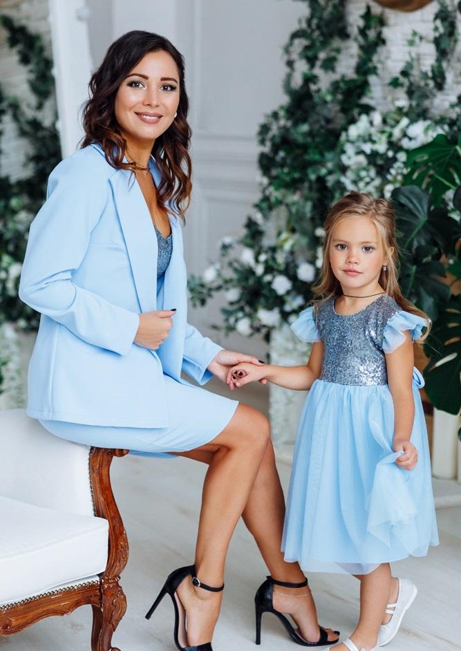"""Комплект в стиле Family Look костюм для мамы и платье для дочки """"Меган"""" М-2151-3"""