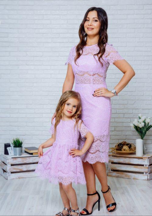"""Комплект кружевных платьев мама+дочка """"Вивьен"""" М-2131-2"""