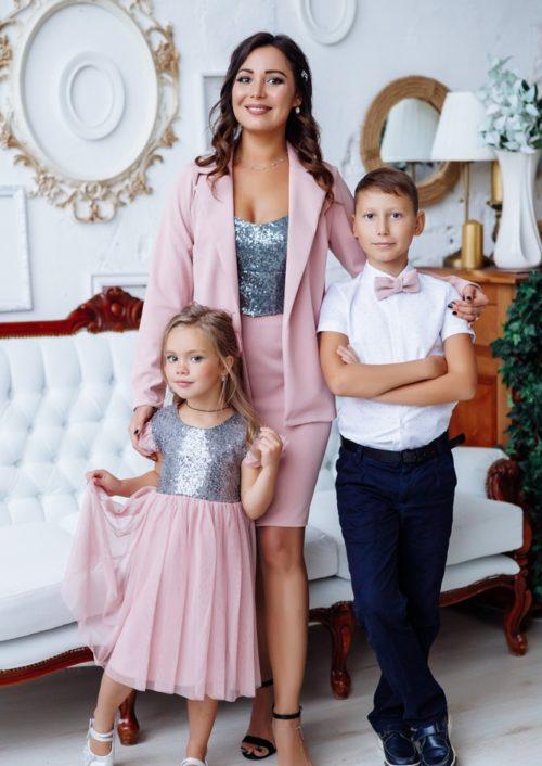 """Комплект в стиле Family Look костюм для мамы и платье для дочки """"Меган"""" М-2151-2"""