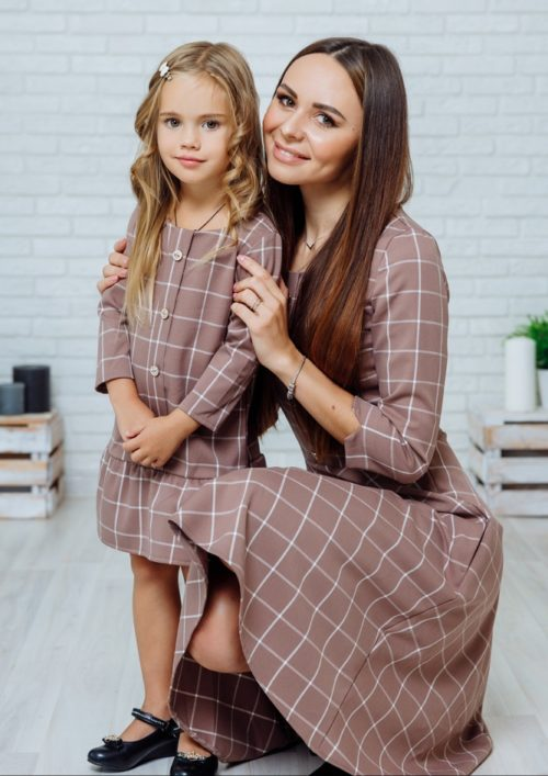 """Комплект платьев в стиле Family Look для мамы и дочки """"Анна"""" М-2140-2"""